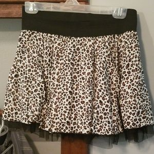 Leopard mini skirt with elastic waist